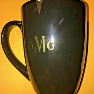 NWT Cynthia Rowley coffee mug 15 oz black gold